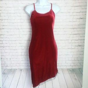 [VINTAGE] 1990's red velvet high-low dress